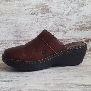 Born Warm Brown Leather Slide Clogs